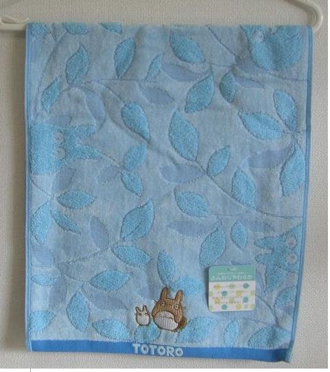 Ghibli - Totoro - Face Towel - Totoro & Sho Totoro Embroidered - leaf - blue - 2008 (new)