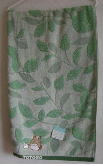 Ghibli - Totoro - Bath Towel - Totoro & Sho Totoro Embroidered - leaf - green - 2008 (new)