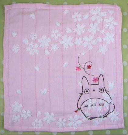 Ghibli - Totoro - Hand Towel - Totoro & Sakura Embroidered -NonTwistedThread-sakura-pink-2008(new)