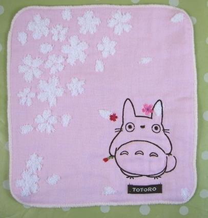 Ghibli - Totoro - Mini Towel - Totoro & Sakura Embroidered -NonTwistedThread-sakura-pink-2008(new)