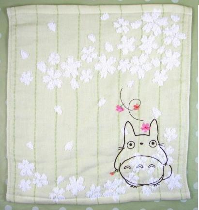 Ghibli - Totoro - Hand Towel - Totoro & Sakura Embroidered -NonTwistedThread-sakura-green-2008(new)