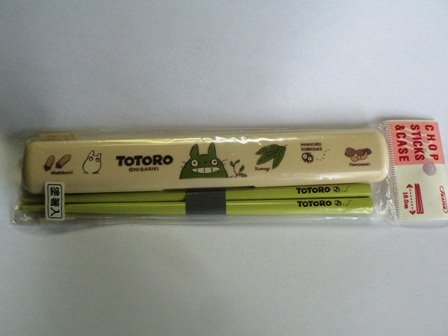 Ghibli - Totoro & Sho & Kurosuke - Chopsticks (lightgreen) & Case -outofproduction-RARE-SOLD(new)