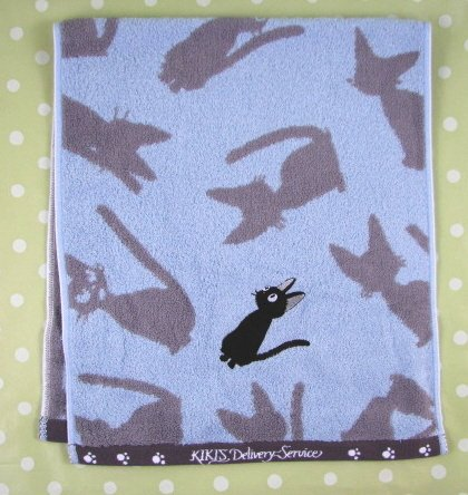Ghibli - Kiki's Delivery Service - Face Towel - Jiji Applique - blue -out of production-RARE(new)