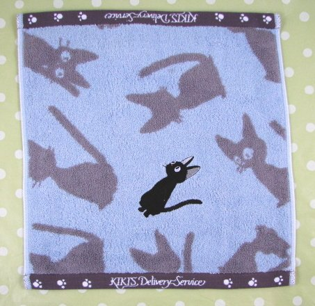 Ghibli - Kiki's Delivery Service - Hand Towel - Jiji Applique -blue -outofproduction-RARE(new)