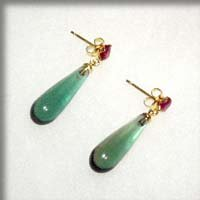 SOLD - Earring - Green Quartz & Synthetic Ruby- Howl's Moving Castle -out of production (new)