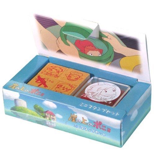 4 Stamps & Ink - Mini Rubber Stamp Set B - made in Japan - Ponyo - 2008 (new)
