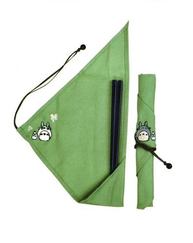 Chopsticks & Wrapping Cloth Set - Blue Lacquer - Embroidered - Eco - Totoro - 2008 (new)