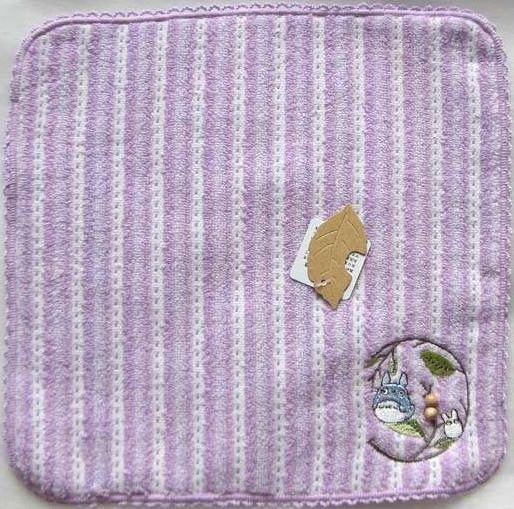 Ghibli - Chu & Sho Totoro - Mini Towel - Embroidered & Wooden Beads - stripe - purple - 2008 (new)