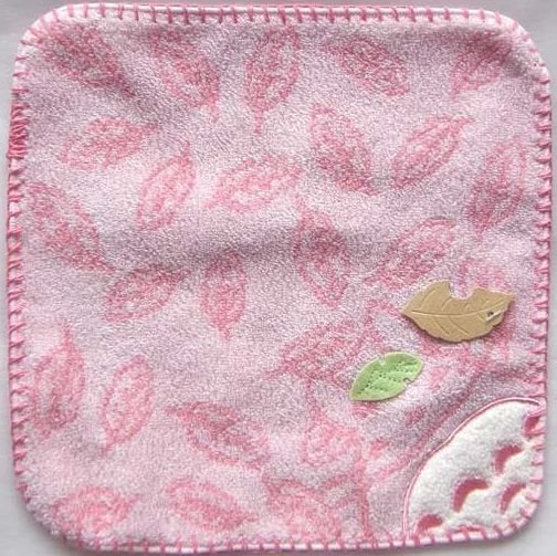 Ghibli - Totoro - Mini Towel - Embroidered & Leaf Applique -smile-pink-2008-outproduction(new)