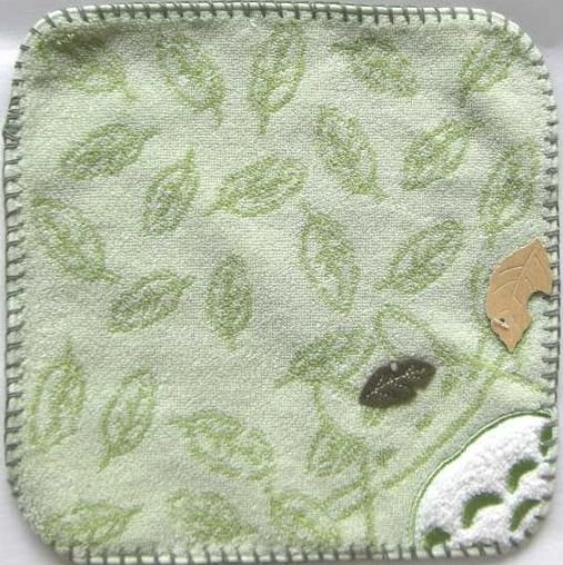 Ghibli - Totoro - Mini Towel - Embroidered & Leaf Applique -smile-green-2008-outproduction(new)