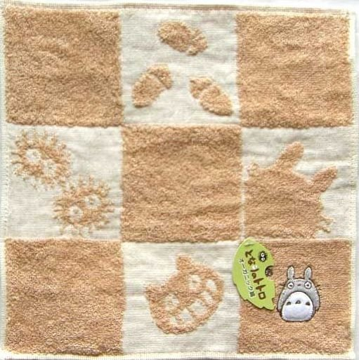 Mini Towel - 25x25cm - Organic - Applique & Embroidery - made in Japan - Totoro - 2008 (new)
