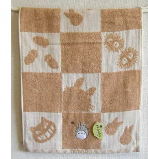 Face Towel - 34x80cm - Organic - Applique & Embroidery - made in Japan - Totoro - 2008 (new)