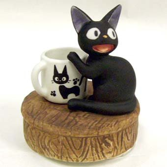 Ghibli - Kiki's Delivery Service - Jiji & Cup - Music Box - Rotary - Porcelain -2008-SOLD(new)