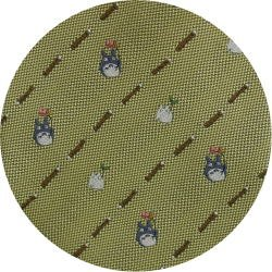 Ghibli - Chu & Sho Totoro - Necktie - Silk - Jacquard - stripe - yellow - made in Japan - 2008 (new)