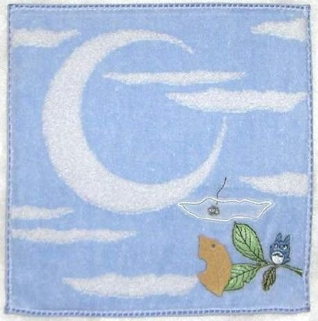 Ghibli - Totoro - Mini Towel - Embroidered & Applique - moon - blue - 2008 (new)