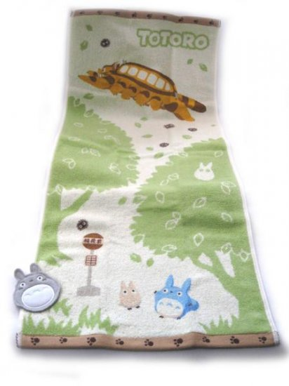 Ghibli - Totoro & Chu & Sho & Nekobus - Face Towel - bus stop - made in Japan - 2008 (new)