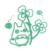 Pre-inked / Self-inking Stamp - green - Totoro & Kurosuke & Clover - made in Japan - Ghibli (new)