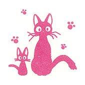 Pre-inked / Self-inking Stamp - pink - Jiji & Kid - made in Japan - Kiki's Delivery Service (new)