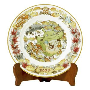 SOLD- Yearly Plate 2009 with Wooden Stand- Bone China- Noritake -limited- made Japan- Totoro (new)