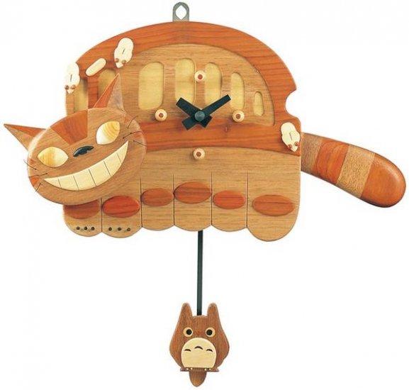 25% OFF - Wooden Wall Clock - Handmade in Japan - Totoro Pendulum - Quartz Citizen - Nekobus (new)