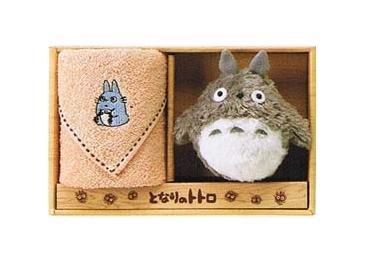 Towel Gift Set - Mini Towel & Mascot - Chu Totoro Embroidered - orange- Ghibli - 2009 (new)
