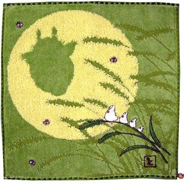 Mini Towel - moon - Embroidery - Totoro & Sho Totoro & Kurosuke - Ghibli - 2009 (new)