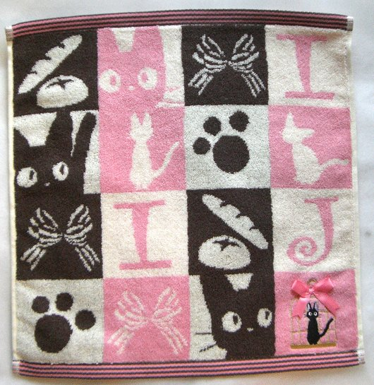 Hand Towel - Jiji in Cage - Embroidered - Kiki's Delivery Service - Ghibli - 2009 (new)