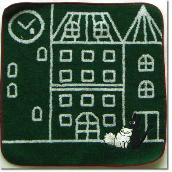 Ghibli - Kiki's Delivery Service - Jiji & Lily - Mini Towel - embroidered - green - 2008 (new)