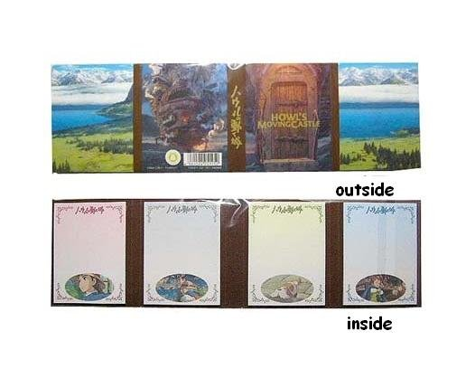 1 left- Folded Notepad 4 Designs x 20 Sheets Each - Howl's Moving Castle Ghibli no production (new)