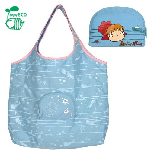 2 left - Eco Folding Tote Bag & Compact Case - Ponyo - Ghibli - out of production (new)