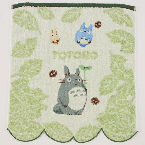 Hand Towel - NonThread Steam Shirring - leaf - Totoro & Chu & Sho & Kurosuke - Ghibli - 2009 (new)