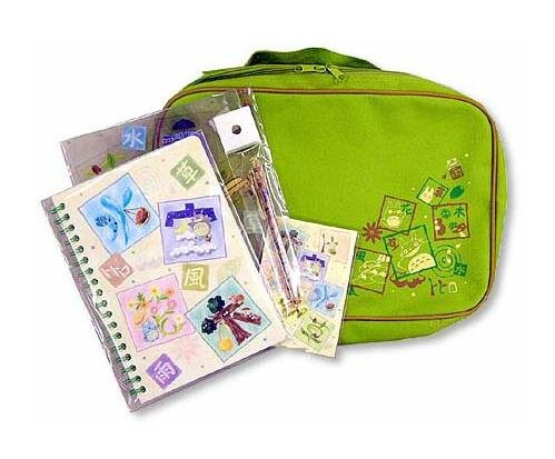 4 Stationary Set in Case- Mechanical Pencil & Clear File & Ring Notebook & Notepad- Totoro (new)