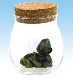 Figure in Aqua Glass Pot - Cork Cap - Laputa Robot - 2009 - out of production  (new)