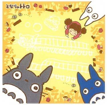 SOLD - Handkerchief - 30x30cm- Totoro & Chu & Sho & Mei - Ghibli -yellow-out of production (new)