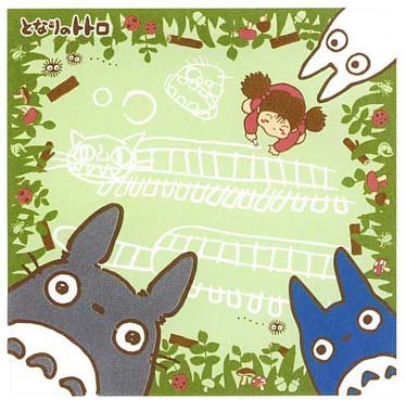 SOLD - Handkerchief - 30x30cm- Totoro & Chu & Sho & Mei - Ghibli -green-out of�production (new)
