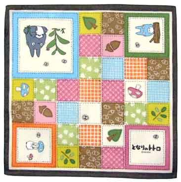 SOLD - Handkerchief - 31x31cm - patchwork - Totoro & Chu & Sho Totoro - Ghibli -outproduction(new)