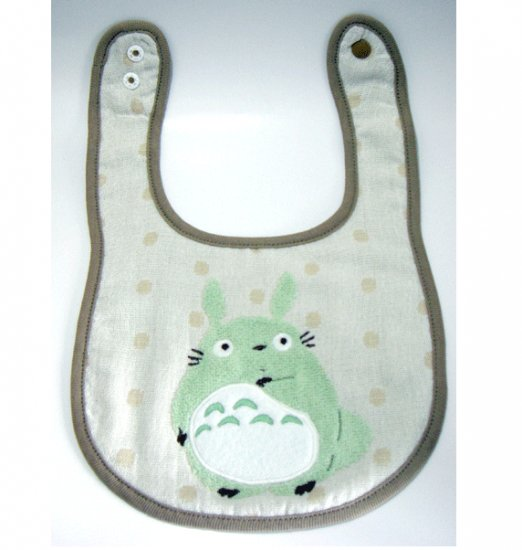 Baby Bib - Towel Cotton - Snap Button - Green Totoro - Gift Box - 2009 (new)