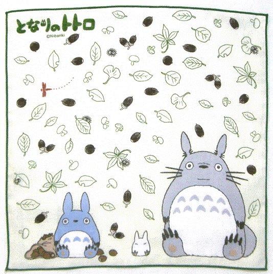 Handkerchief - 29x29cm - Totoro & Chu & Sho Totoro - green - Ghibli - 2009 (new)