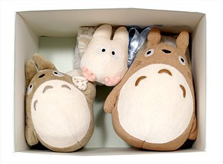 SOLD - 3 Plush Doll & 1 Mini Towel Set - Organic - Totoro - Sun Arrow - no production (new)