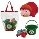 RARE 1 left - 5 Water Play Toy Set in Bucket & Bag - Ponyo Water Gun - Ghibli 2008 no production