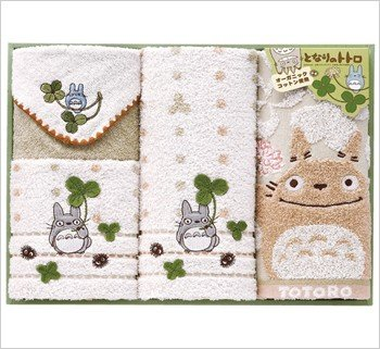 Towel Gift Set - Mini & Wash & 2 Face Towel - Organic - Totoro - Ghibli - 2010 (new)