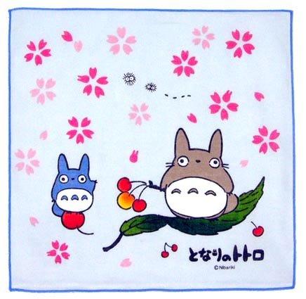 Handkerchief - 29x29cm - Totoro & Chu - sakura - light blue - Ghibli - out of production (new)