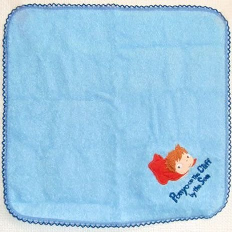 SOLD - Mini Towel - 25x25cm - blue - Embroidery - Ponyo - 2010 - no production (new)