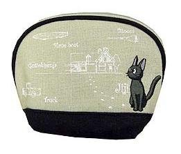 SOLD - Pouch - Jiji Embroidered - round - Kiki's Delivery Service - Ghibli -out of production(new)