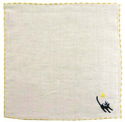 Handkerchief - Jiji & Butterfly & Flower - Embroidered - Kiki's Delivery Service - 2010 (new)