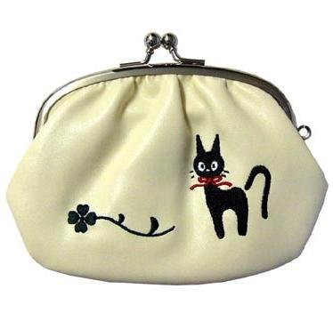 Purse Gamaguchi- Jiji & Footprint Embroidered -Synthetic Leather- Kiki's Delivery Service -2010(new)