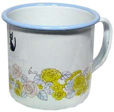 SOLD - Mug Cup - Enamel - rose - Jiji - Kiki's Delivery Service - Ghibli - out of production (new)