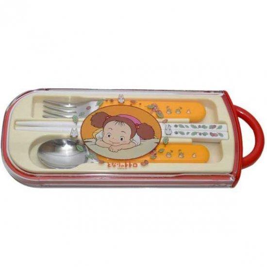 Fork & Spoon & Chopsticks in Case - Mei & Sho Totoro & Kurosuke - Ghibli - 2010 (new)