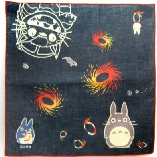 Handkerchief - 29x29cm - Totoro & Chu & Sho & Nekobus & Mouse & Kurosuke - Ghibli - 2010 (new)