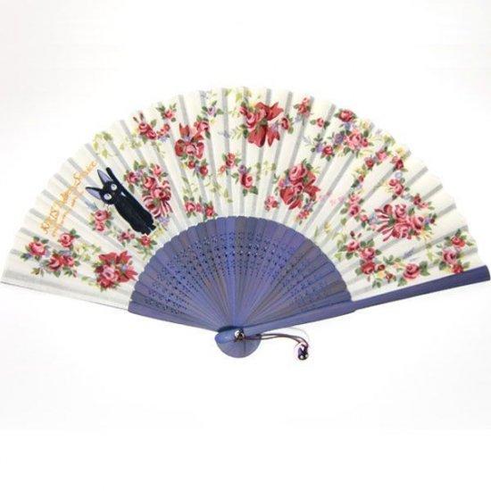 Folding Fan / Sensu - Jiji on Rose Ornament - Kiki's Delivery Service - Ghibli -2010(new)